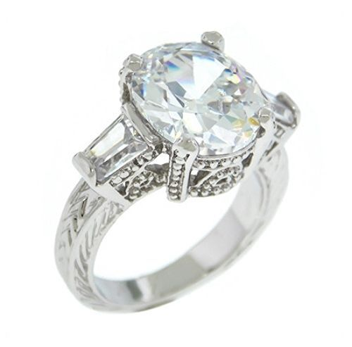 Glitzy 5CTW Oval With Baguette Accent AAA CZ Vintage Style Rhodium Ring