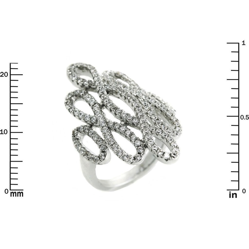 Glitzy Pave Clear AAA Cubic Zirconia Open Knot Knuckle Ring-Rhodium Plated