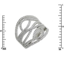 Glitzy Pave Clear AAA Cubic Zirconia Open Wave Knuckle Ring-Rhodium Plated - $39.99