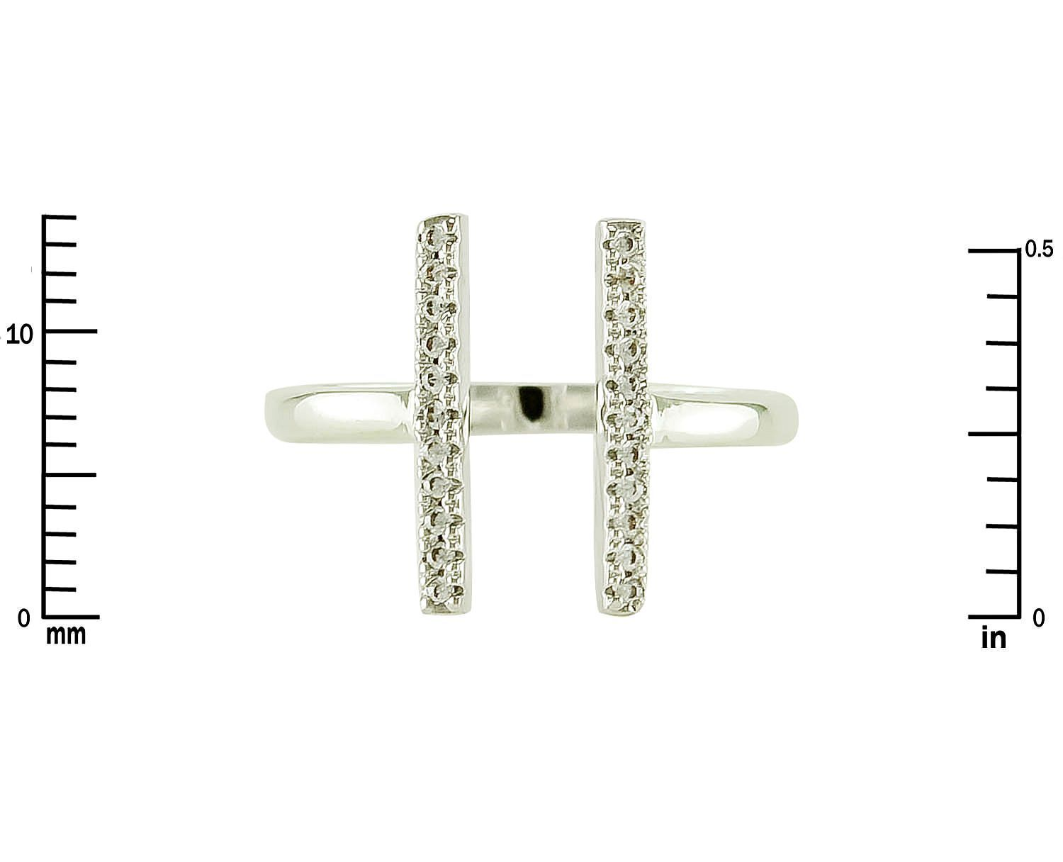 Pave Clear AAA Cubic Zirconia ADJ Double Bar Knuckle Ring-Rhodium-Children Also