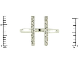 Pave Clear AAA Cubic Zirconia ADJ Double Bar Knuckle Ring-Rhodium-Childr... - $19.99
