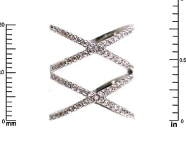 Pave Clear Cubic Zirconia Open Double X Knuckle Ring-Rhodium Plated - $29.99