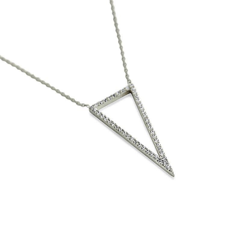 14K WHITE GOLD VERMEIL Pave Open Style Triangle CZ Necklace-Pendant 925 16+2