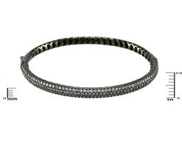 Glitzy Pave AAA Cubic Zirconia Dome Textured Black Rhodium Bangle Bracelet - $59.39