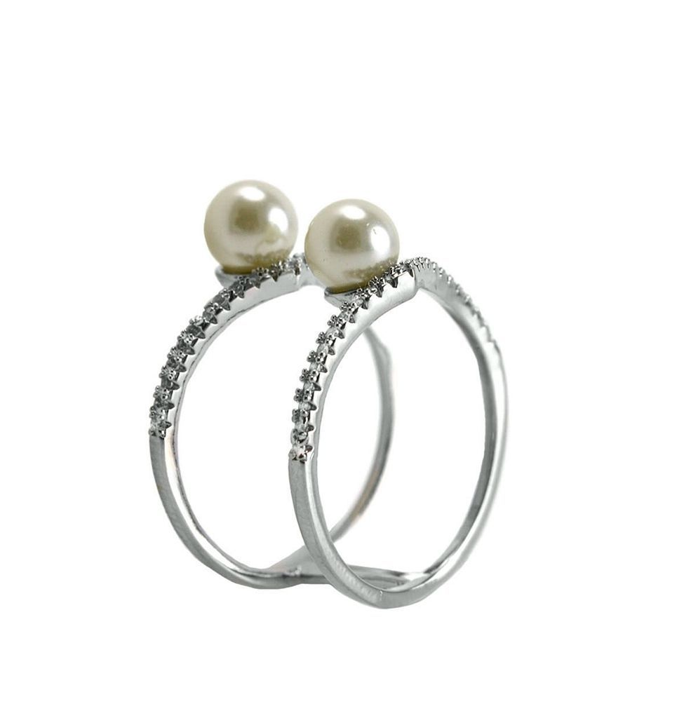 Pave Clear AAA Cubic Zirconia + Pearl Accented Knuckle Ring-Rhodium Plated