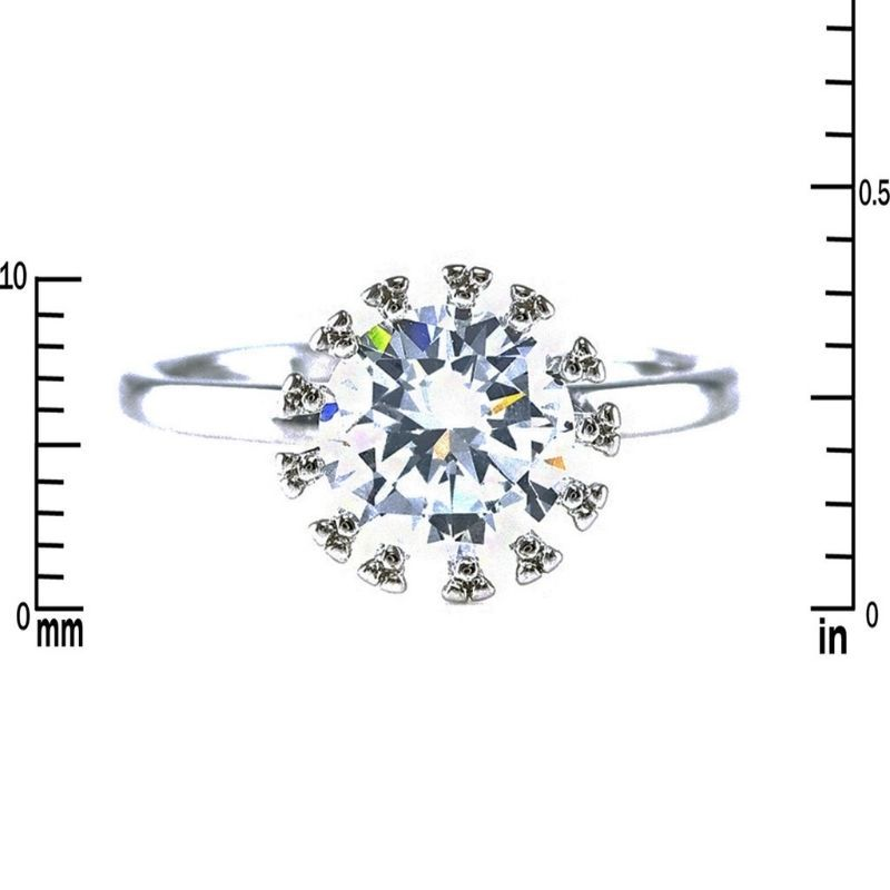Dainty Fancy 2CT Solitaire AAA CZ Rhodium Plated Wedding Ring