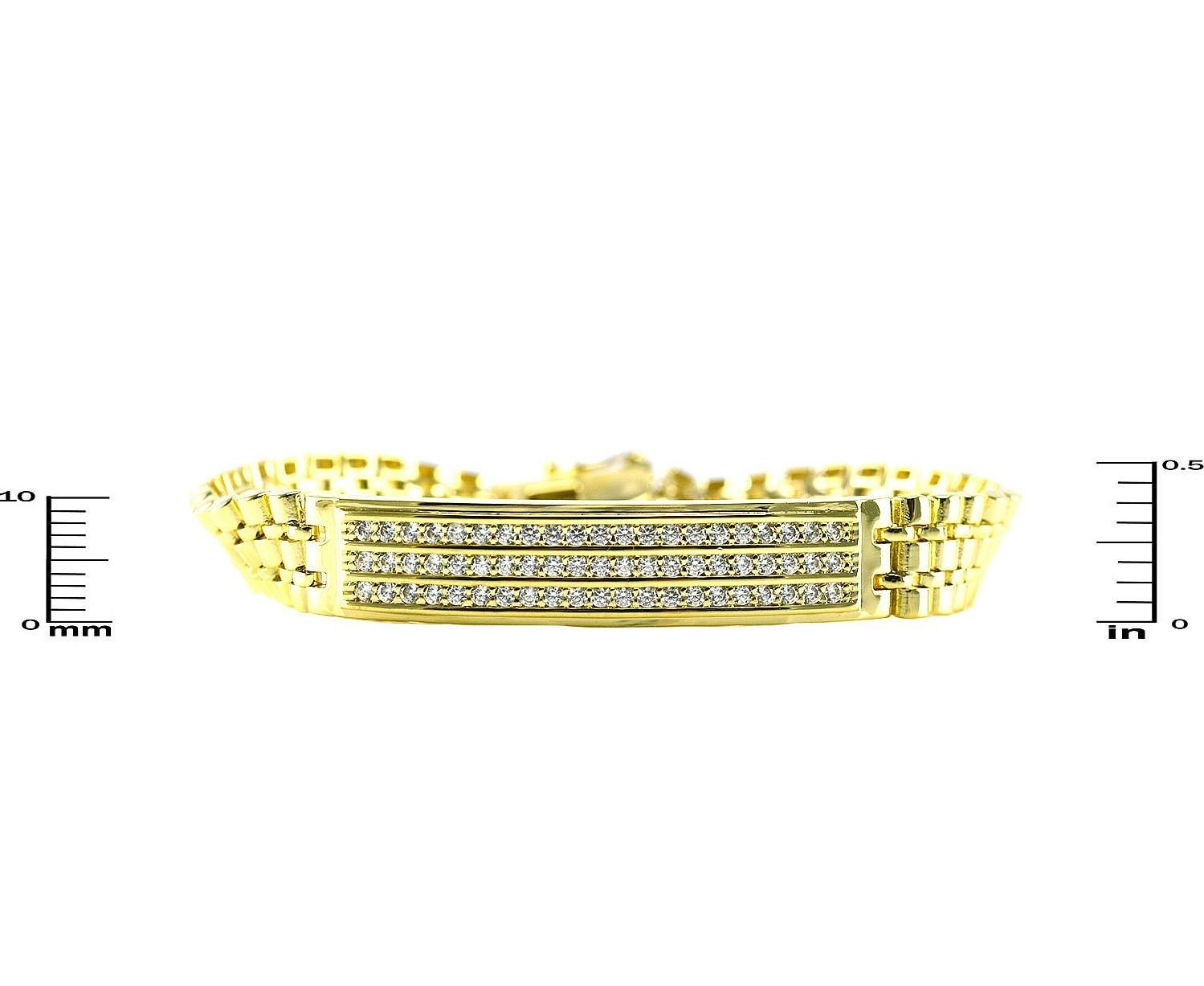 Pave Triple Row Clear AAA Cubic Zirconia Panther Link GEP Bracelet-Glitzy