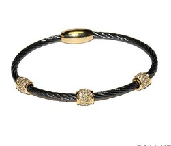 Two Tone 3 Pave Barrels AAA CZ Cable Bangle Bracelet With Magnetic Lock-HE - $19.79