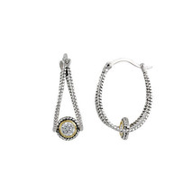 NEW STYLE-2 Tone Caged AAA Bezel Cubic Zirconia Textured Hoop Earrings - $33.66