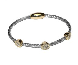 Two Tone 3 Pave Circles AAA CZ Cable Bangle Bracelet With Magnetic Lock-ST - $19.79