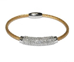 Pave Dome Barrel Clear AAA Cubic Zirconia Stackable Gold Rhodium Cable B... - $19.79