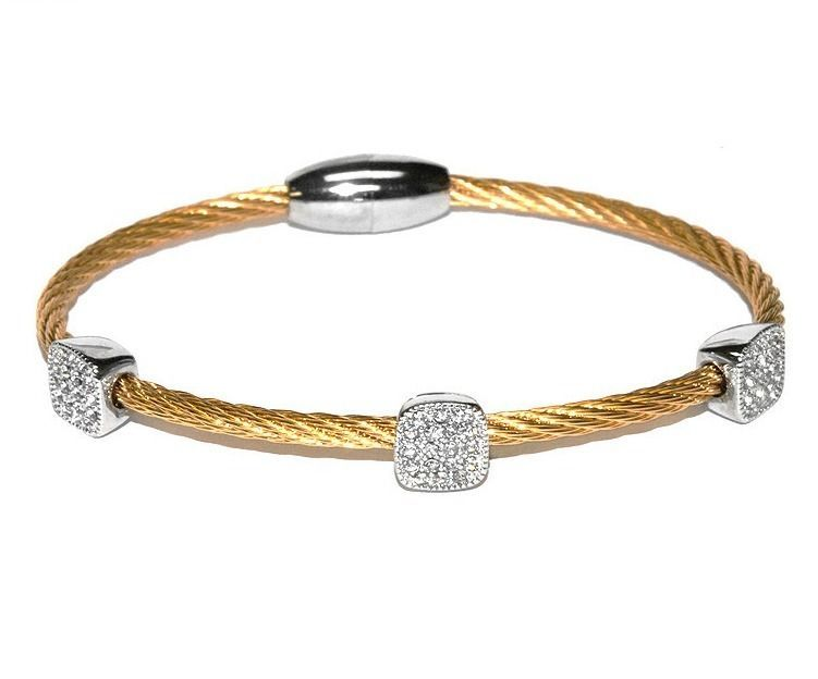 Two Tone 3 Pave Squares AAA CZ Cable Bangle Bracelet With Magnetic Lock-GD