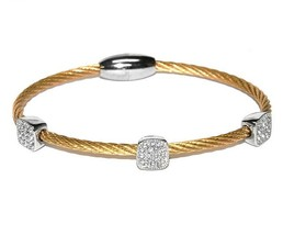 Two Tone 3 Pave Squares AAA CZ Cable Bangle Bracelet With Magnetic Lock-GD - $19.79