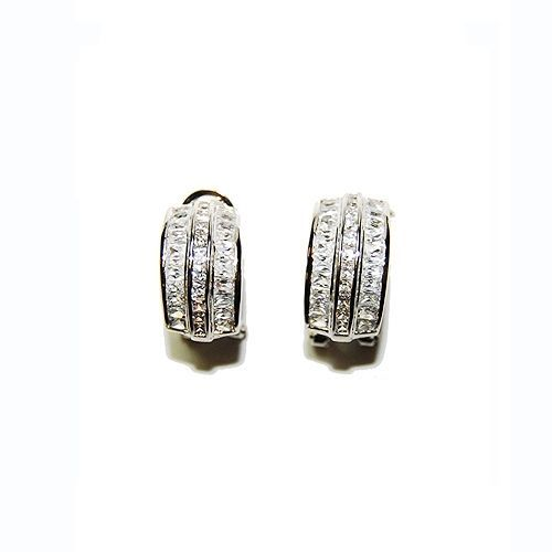 GLITZY BAGUETTE WITH ROUND CENTER CLEAR CZ OMEGA-FRENCH BACK HOOP EARRINGS