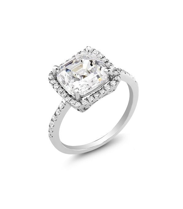 18K WHITE GOLD VERMEIL 4CT Pave And Asscher Cut AAA Cubic Zirconia Halo Ring-925