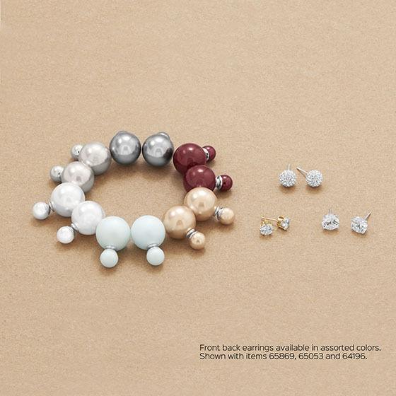 14K WHITE GOLD VERMEIL-White Simulated Pearl Peek-A-Boo Earrings-925