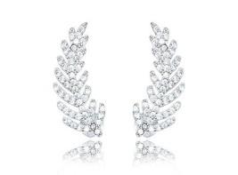 14 K White Vermile Dainty Leaf 5 A Cz Ear Climber Earrings 925/Ss Flawless - $34.64