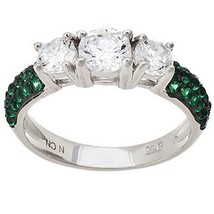 14K WHITE VERMEIL Pave 3 Stone Emerald & Clear Dome CZ Band Ring-Bridal 925 - $49.99