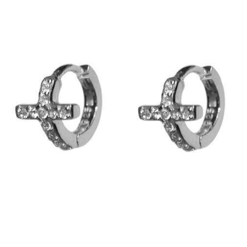 DAINTY-BABIES-CHILDRENS  CLEAR CZ CROSS HUGGIE HOOP EARRING-BRIDAL-9mm