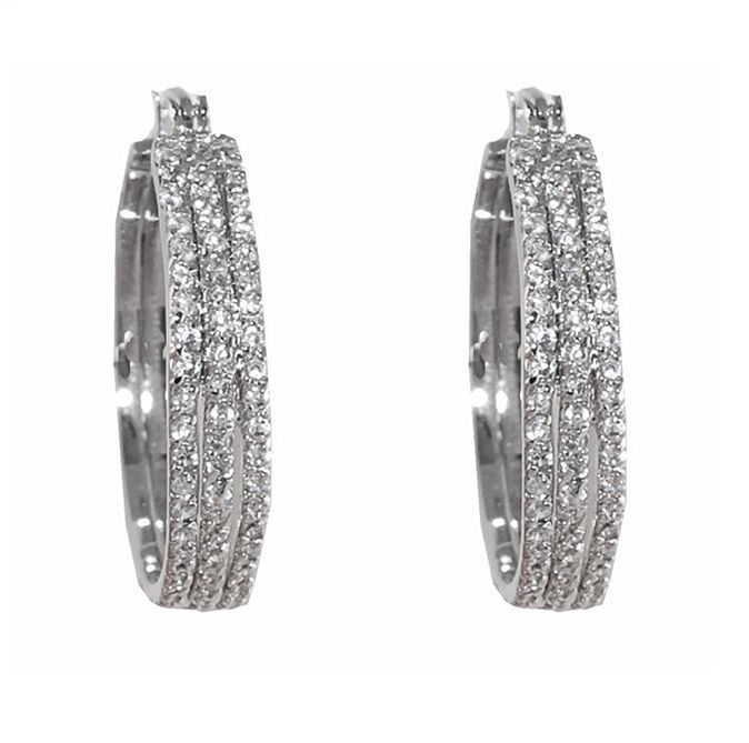 Pave Triple Row 6MM Wide Front Cear AAA Cubic Zirconia Timeless Hoop Earrings