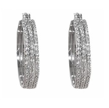 Pave Triple Row 6MM Wide Front Cear AAA Cubic Zirconia Timeless Hoop Ear... - $39.59