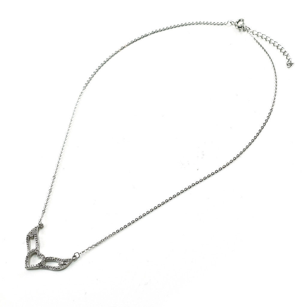 Glitzy Elegant Pave Clear AAA CZ Heart Angel Wing Necklace Rhodium Plated