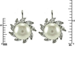 Marquise CZ + Faux Pearl  Rhodium Plated Lever Back Earrings - $24.74