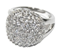 Glitzy Pave Clear AAA Cubic Zirconia 15MM Ball Rhodium Plated Ring - $49.99