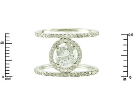 Pave Clear AAA Cubic Zirconia Oval Halo Open X Ring-Rhodium Plated - $29.99