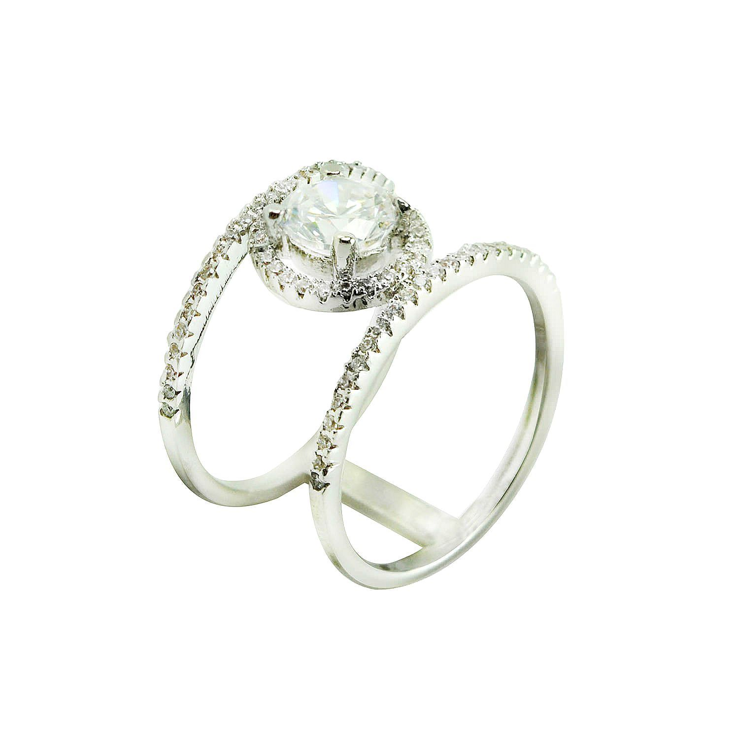 Pave Clear AAA Cubic Zirconia Oval Halo Open X Ring-Rhodium Plated