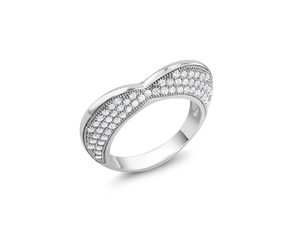 14K WHITE GOLD VERMEIL Pave Double Sided Cubic Zirconia High Set Heart Ring-925