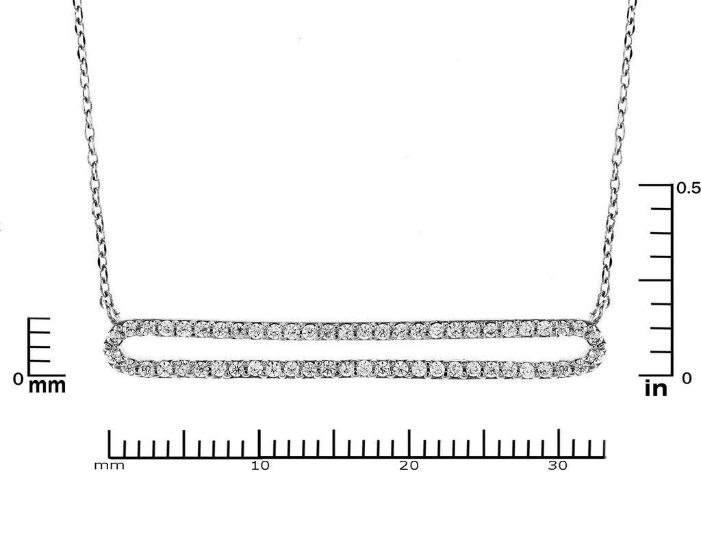 Pave AAA  Cubic Zirconia 33mm Open Double Bar Rhodium Plated Pendant Necklace
