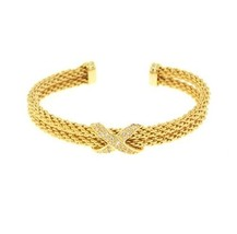 Pave X Charm AAA Cubic Zirconia Double Row Cable GEP Bangle Bracelet 1 Size - $28.71