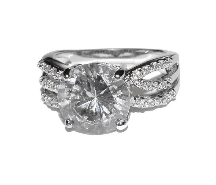 Glitzy 6CTW Pave Round Cut Solitaire With Pave Triple Side CZ Rhodium Ring