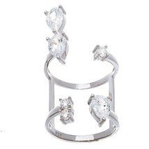 14 K White Vermeil Pear+Round Cz Open Adjustable Above Or Under Knuckle Ring 925 - $39.00