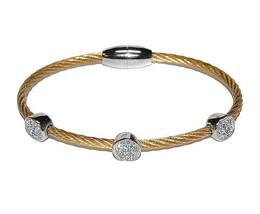 Two Tone 3 Pave Circles AAA CZ Cable Bangle Bracelet With Magnetic Lock-GD - $19.79