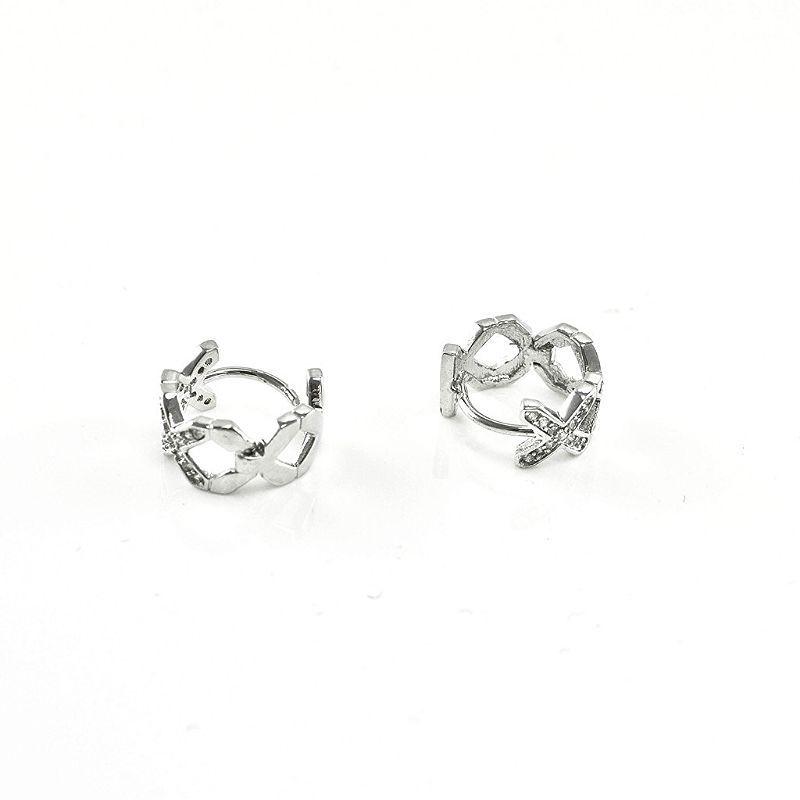 Dainty Babies Childrens Rhodium Plated CZ Twisted X Huggie Hoop Earrings12mm