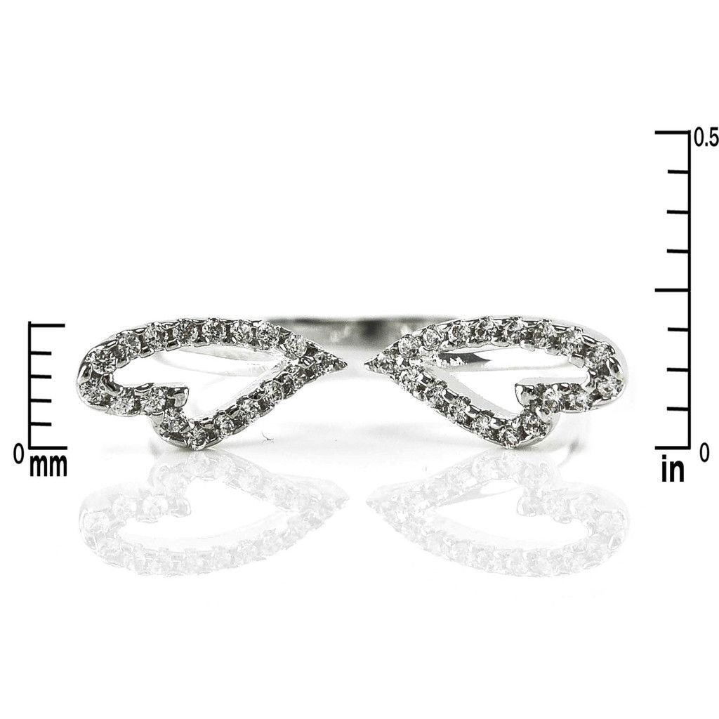 Dainty Pave Clear Cubic Zirconia Angel Wing Adjustable Ring-Rhodium Size Large