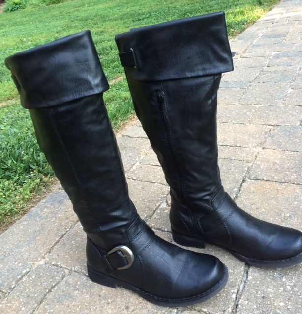 703e2c8d97a41 Womens Bare Traps Black JOCEY Knee High Riding Fashion Boots w/Stretch Calf  6M 6