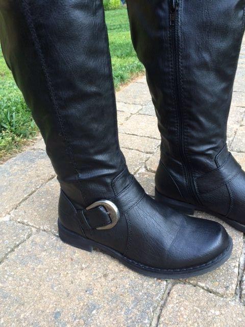 Womens Bare Traps Black JOCEY Knee High Riding Fashion Boots w/Stretch Calf 6M 6