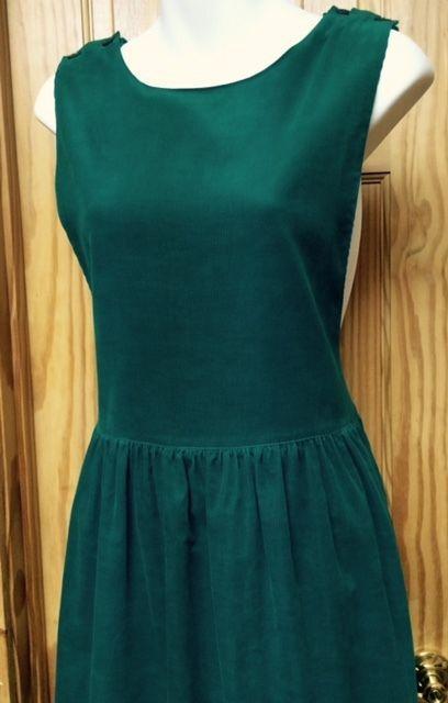 NWOT Womens (Sz 12)Jennifer Moore Teal Green Corduroy Jumper Long Dress Size 12