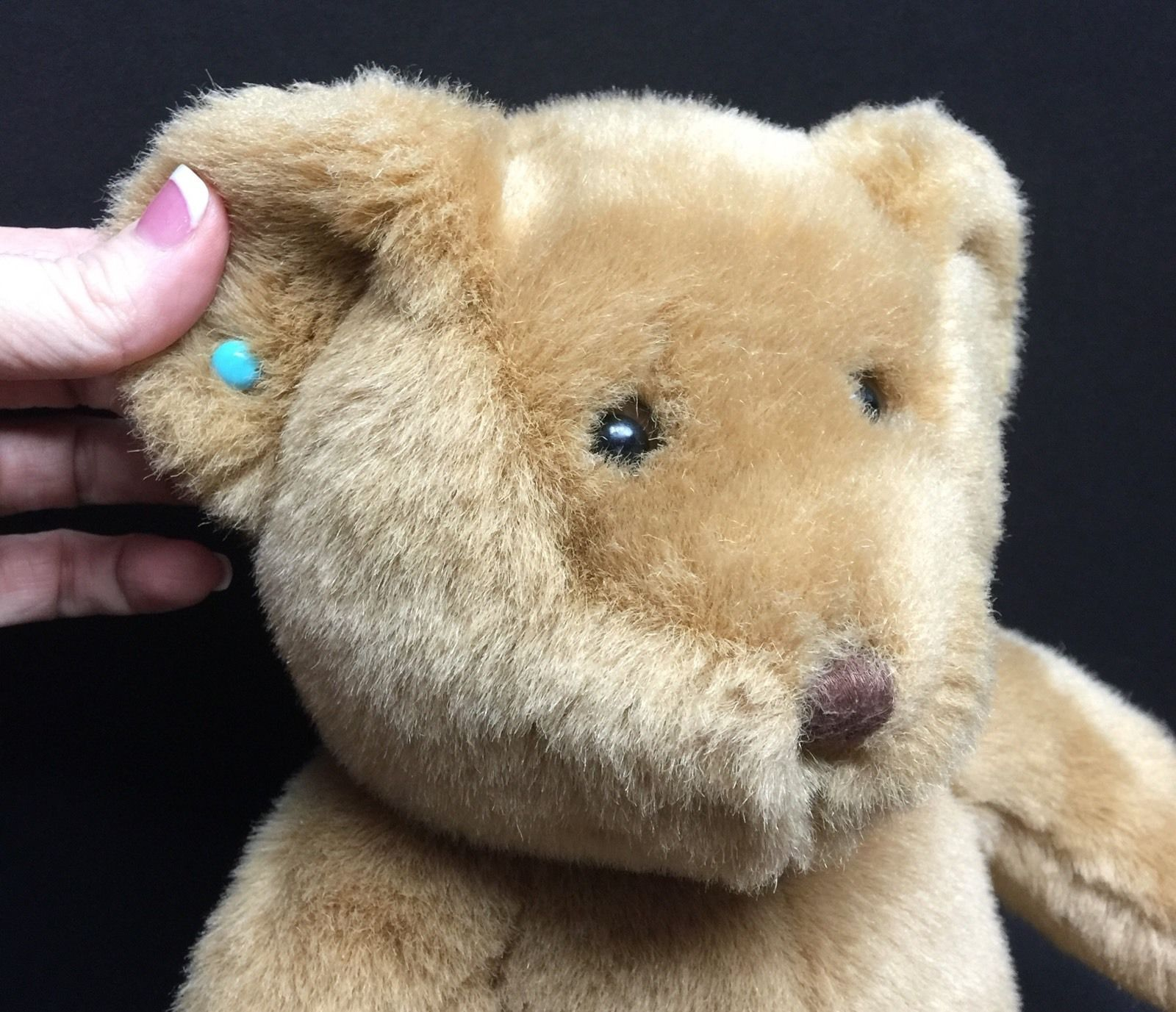 """Classic Build-A-Bear Plush Light Brown Bear 15"""" With Turquoise Earrings"""