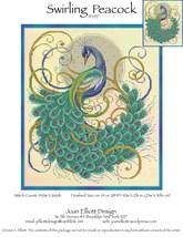 Swirling Peacock JE057 cross stitch chart Joan Elliott Designs - $14.00