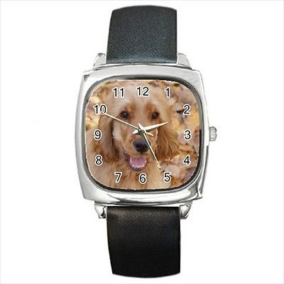 English Cocker Spaniel Square Round & Square Leather Strap Watch - Dog Puppy