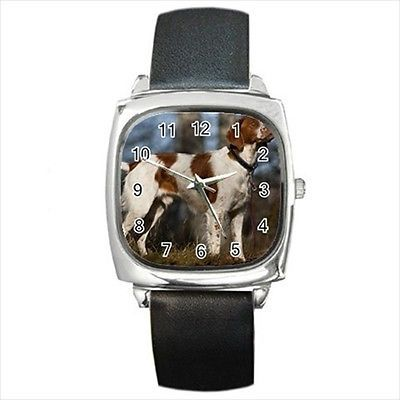 French Brittany Square Round & Square Leather Strap Watch - Dog Puppy
