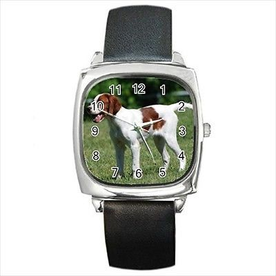 Irish Red And White Setter Square Round & Square Leather Strap Watch - Dog Puppy