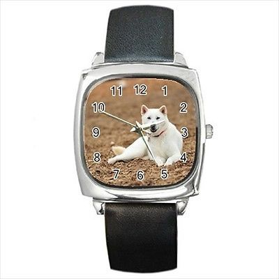 Kishu Square Round & Square Leather Strap Watch - Dog Puppy