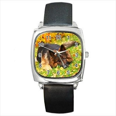 German Shepard Square Round & Square Leather Strap Watch - Dog Puppy