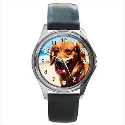 Golden Retriever Square Round & Square Leather Strap Watch - Dog Puppy