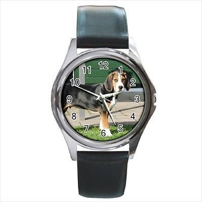 Hamilton Hound Square Round & Square Leather Strap Watch - Dog Puppy